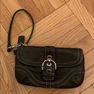 Coach Dark Brown Leather Wristlet